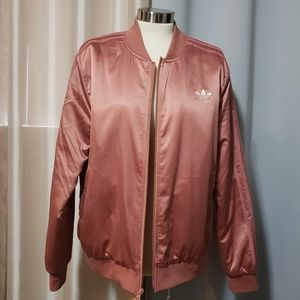 Adidas salmon/rose bomber jacket